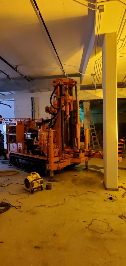 Track Drilling Rig Indoors